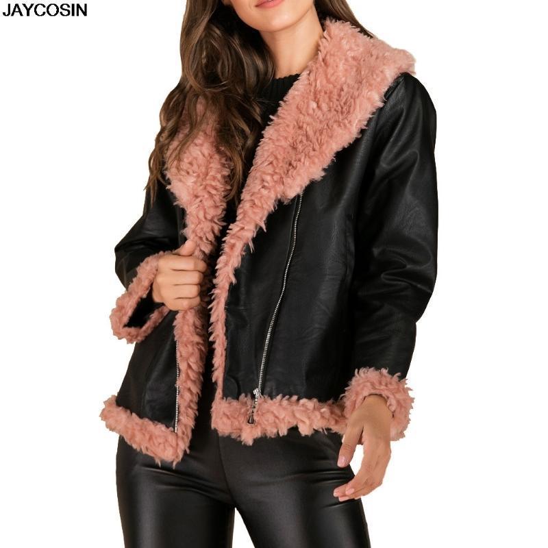 JAYCOSIN 2020 Nouvelle Collection hiver de femme en fausse fourrure en peau de mouton manteau style inhabituel Couleurs mi-longues coupe-vent capot 9820