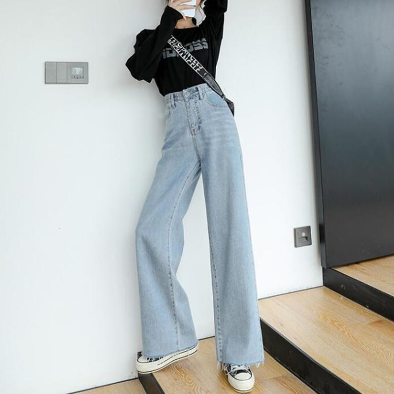 Женщина джинсы высокой талией Одежда Широкий Leg Denim одежда Синий Streetwear Урожай качества 2020 осень моды Harajuku Брюки прямые
