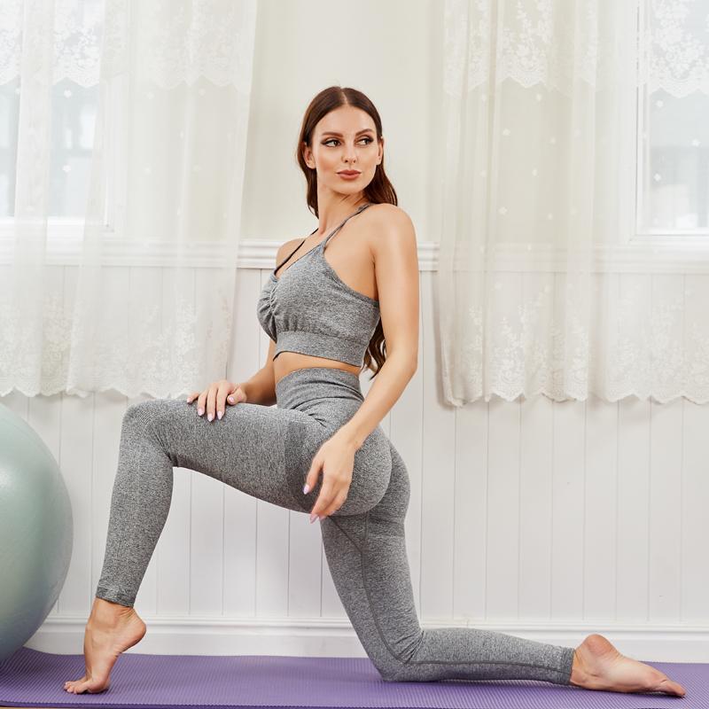 Женская спортивная одежда Йога костюм тренажерный зал одежда высокая эластичность брюки тренировки бегущий фитнес носить костюм спортивный женщина 2021