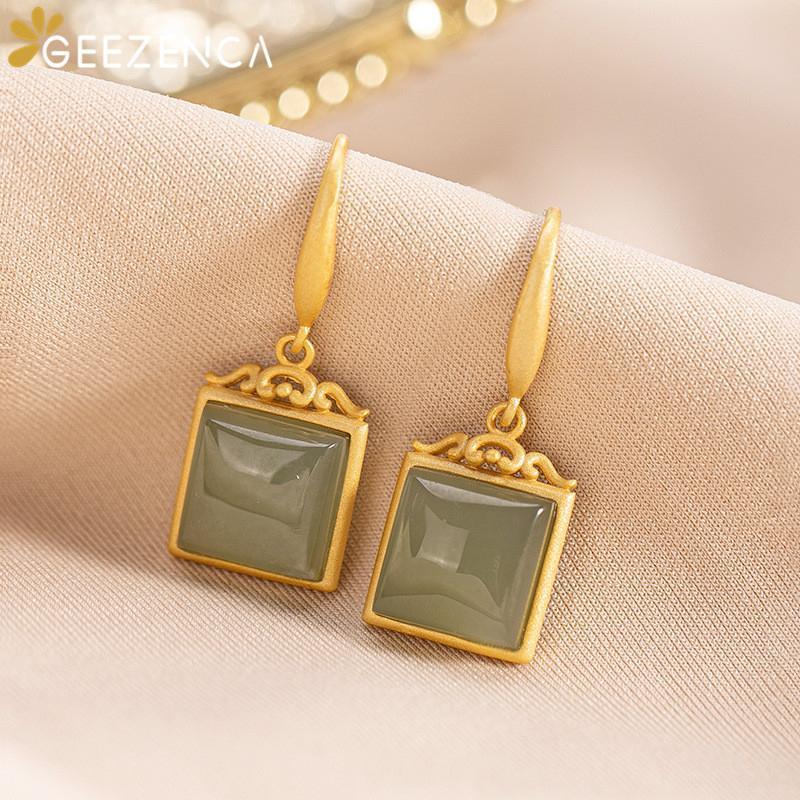 Люстра свисая люстра 925 стерлингового серебра ювелирные украшения позолоченные квадратные формы гетианские нефритовые серьги для женщин драгоценные камни серьги моды мило