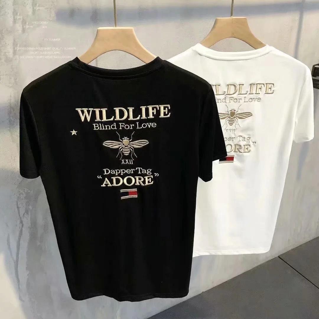 Mens Mode T-shirt 2020 Bienenstickerei Muster Tops Aktive Buchstaben Muster T-Shirt Neue Jungen Hiphop Tragen Kleidung Aiian Größe