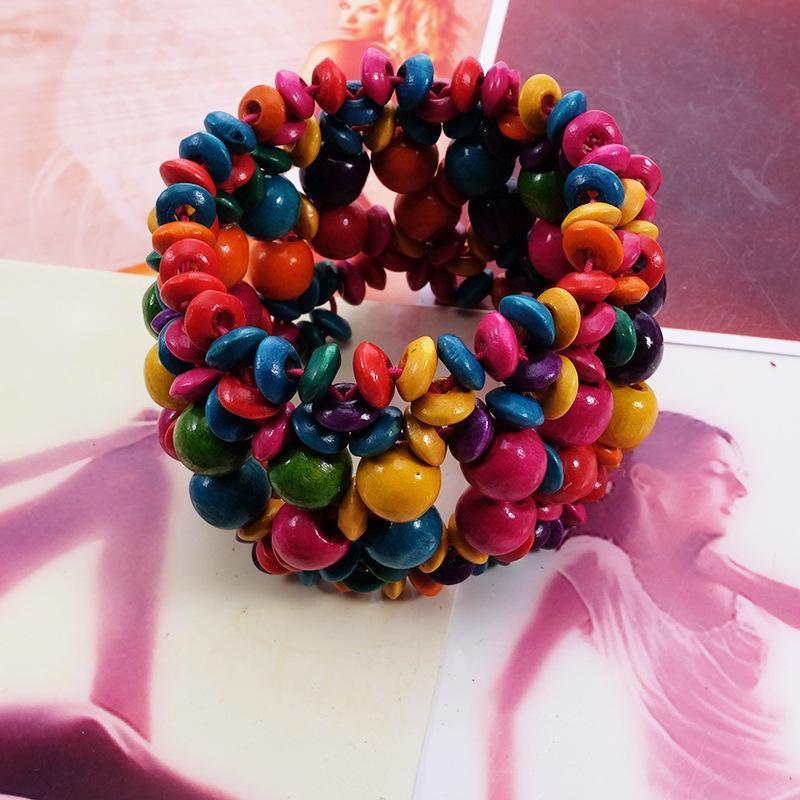 Бисероплетенные, пряди разноцветные деревянные бусины растягивающие браслет богемные украшения для женщин девочек детские аксессуары для детей