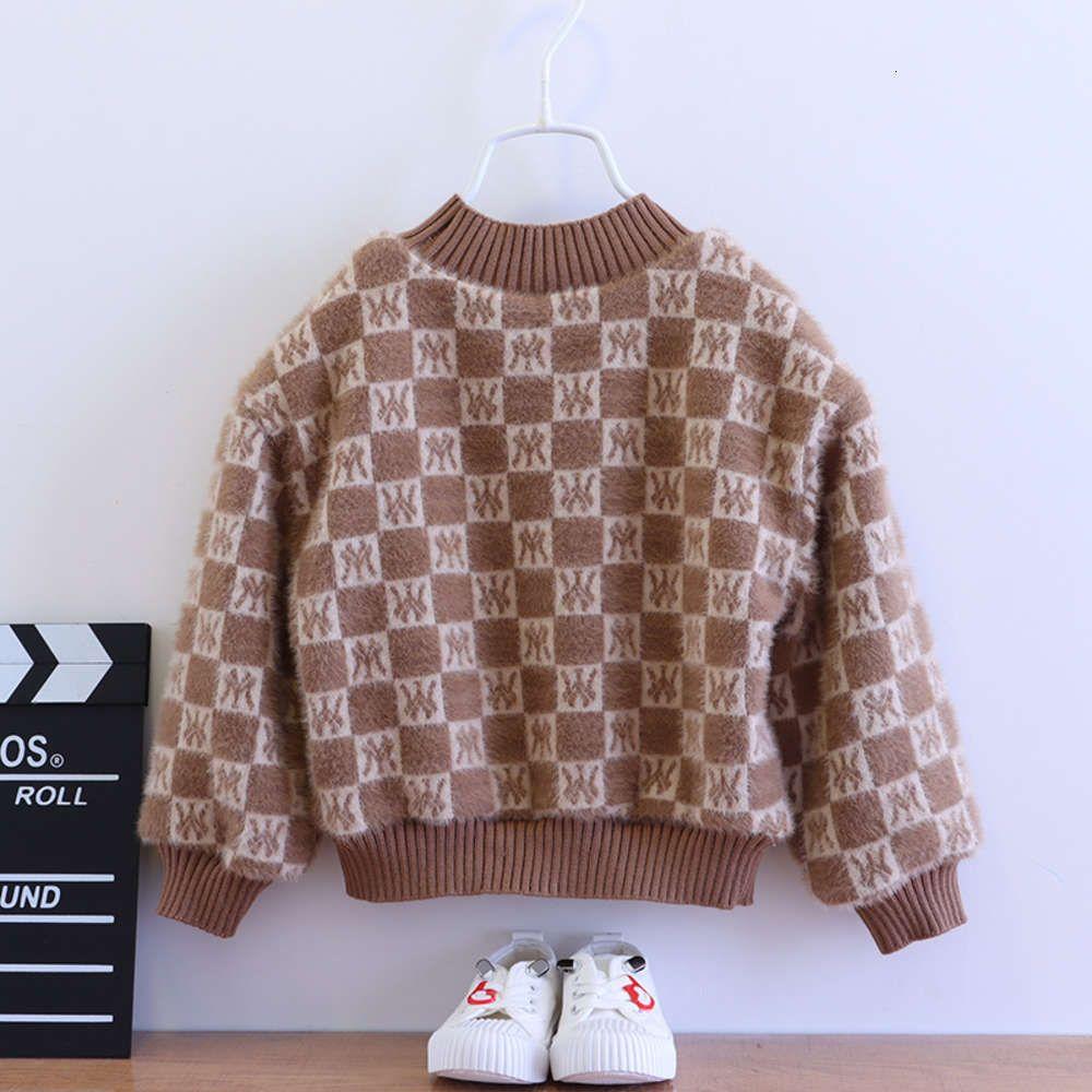 Одежда 2020 Детская Осень и Зима Новый Модный Корейский Пуловер Мальчики Плюшевые Утолщенные Топ Мода