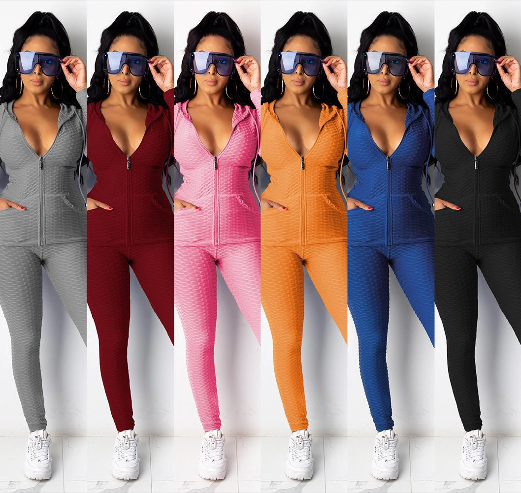 New Arrival Designer Suit Women Suits Hoodies Autumn And Winter Tracksuits Outfits Solid Color Slim Long Sleeve Two Pieces Clothin