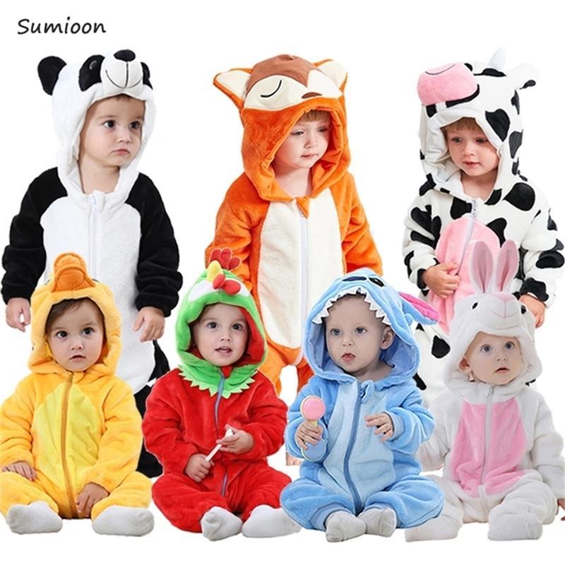 Осень зима Ново рожденная детская одежда Унисекс Хэллоуин одежда мальчик Rompers детские панды костюм для девочек младенческий комбинезон 3-24м 201127