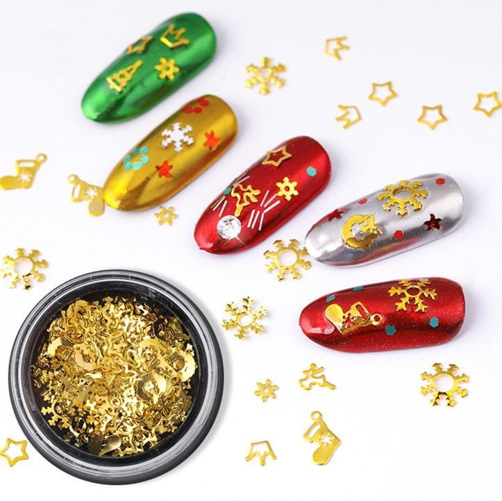 1 مربع مختلط 3d عيد الميلاد مسمار الفن ديكورات مسمار تصميم الذهب برشام مانيكير الملحقات diy شريط التمرير مسمار ترصيع إطار معدني