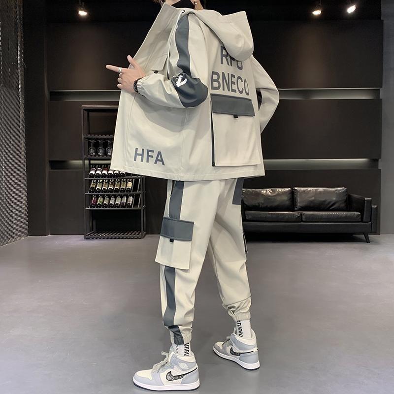 Herren Streetwear Cargo Pullover Mit Kapuze Trainingsanzug 2 Stücke Sets Jacken und Frachthosen Lose Fit Hosen Hip Hop Jacke