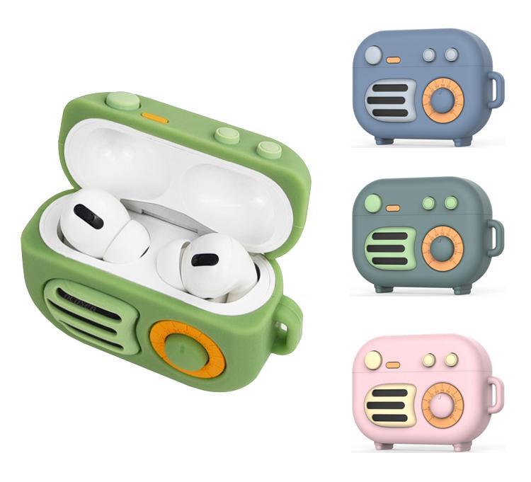 Para airpods pro 3 geração desenhos animados Retro rádio à prova de choque à prova de choque soft silicone case conque com lingas cinta carabiner