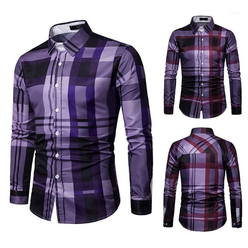 Kariertes shirt von männer langarm gitter plaid malerei patchwork große größe bluse slim fit herren kleidung top marke hemd 20191