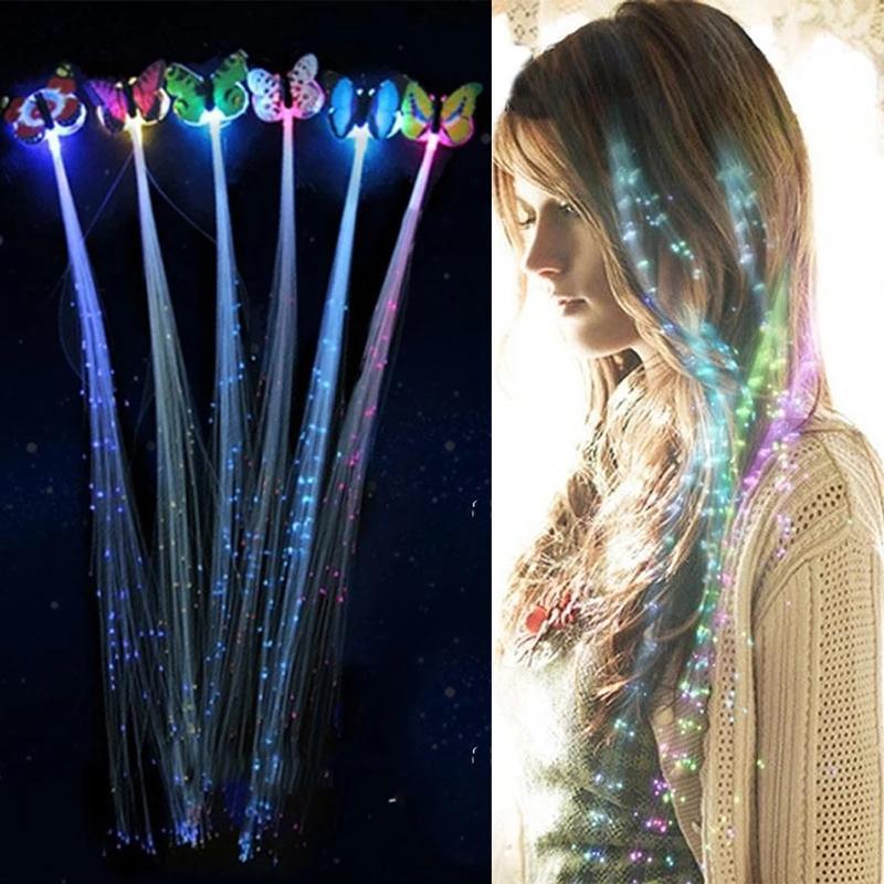 Flash-LED-Haar-Licht emittierend Faseroptik-Pigtail-Flecht-Zopf-Schmetterling leuchtendes Haar-Perücke KTV-Party-Abschlussball liefert Haarzubehör Kopfschmuck