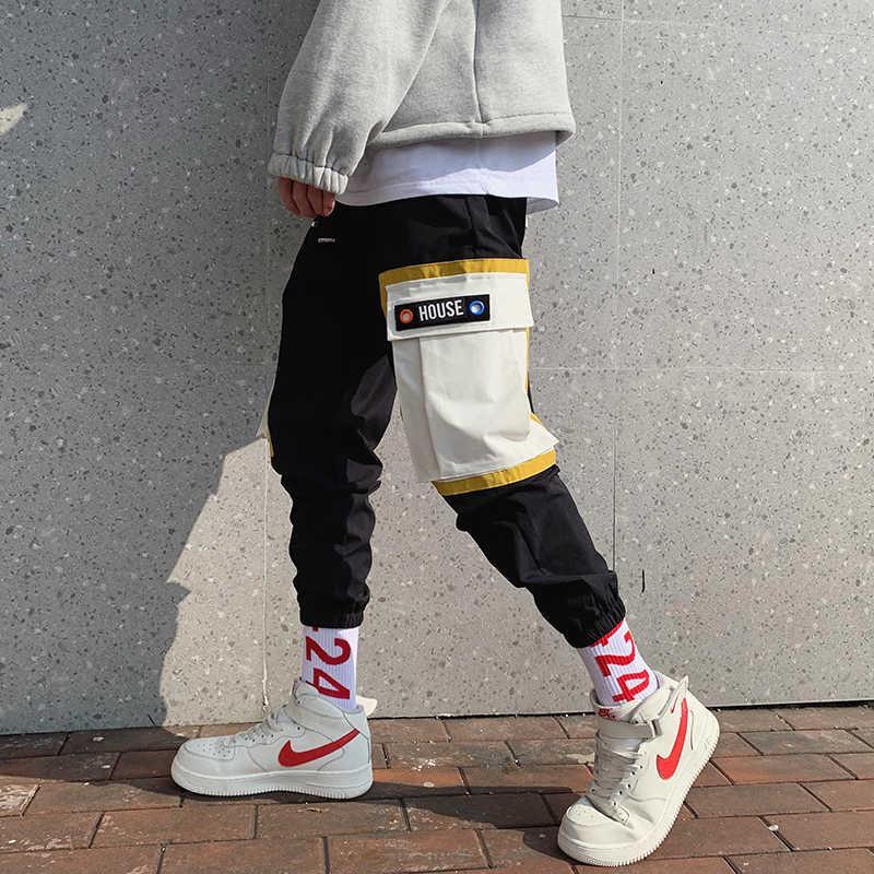2019 männliche Hose elastische Haremhose Hip Hop Streetwear Freizeit Baumwolle Beiläufige Hosen Patchwork Joggers Jogginghose M-3XL