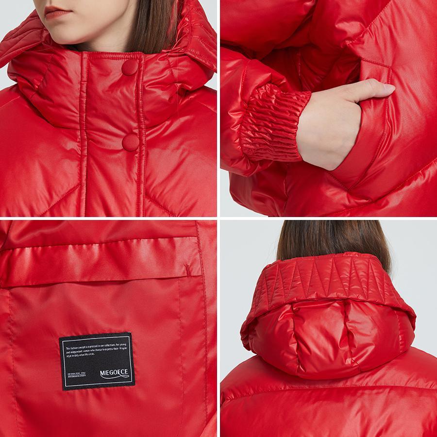 MIEGOFCE 2020 Новый дизайн Зимнее пальто Женская Куртка Изолированная Нарезанная Длина талии с карманами Случайные Парки Стенд Воротник с капюшоном LJ200825