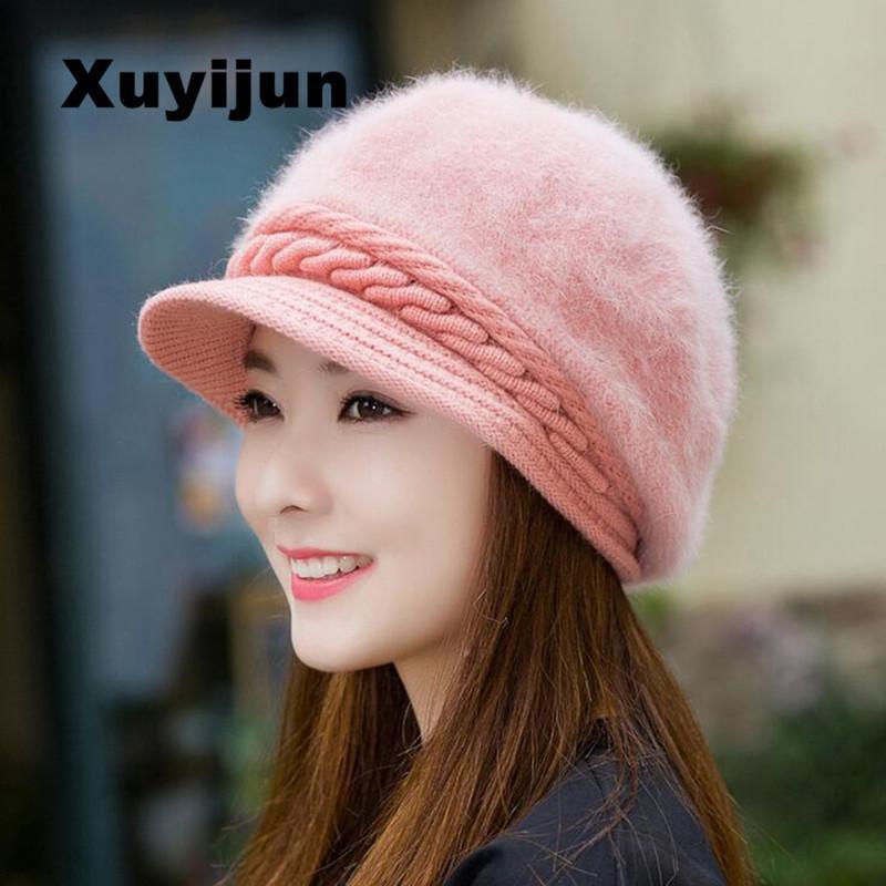 XUYIJUN visone e pellicce palla inverno protezione del cappello delle donne del cappello ragazza maglia cappelli Skullies beanies nuovo tappo spesso femminile