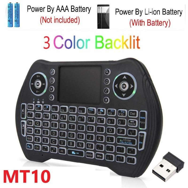 MT10 Keyboard Sem Fio Russo Francês Espanhol 3 Cores Backlit 2.4G Wireless Touchpad para Android Caixa de TV Air Mouse