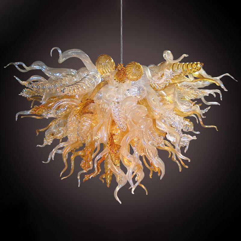 Золото Очистить итальянский стиль Дизайнер Современная Рука выдувное стекло люстры Горячий продавать Murano Art Sculpture освещение