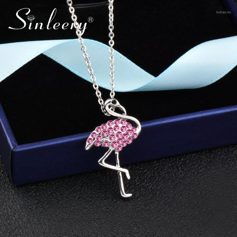 Sinleery Silver Color Cute Pink Strass Flamingo Pendente Donne Collana Fashion Party Collection Gioielli XL211 SSH1
