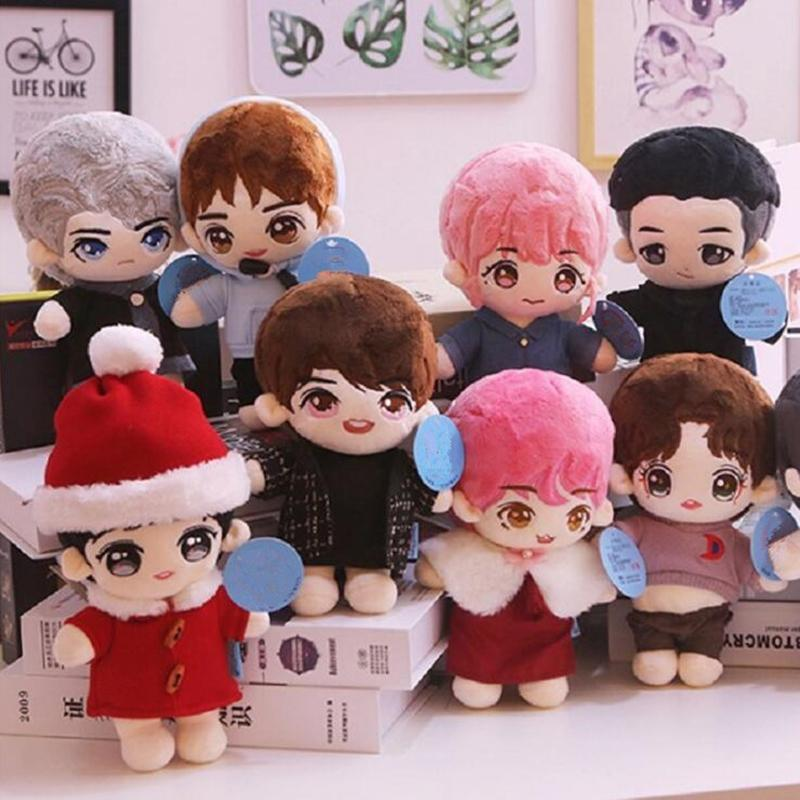 20cm cartoon Star doll plush toy cute kpop boy doll filled plush pillow soft toy plush doll with clothing Christmas gifts 201006