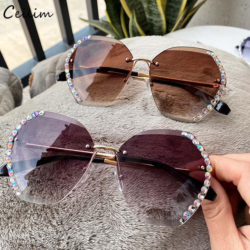 Fashion Diamond Diamond Shades Women 2020 pour lunettes surdimensionnées Lunettes de soleil dimanche à gradient clair Nouveau Crystal Femme RJTSM
