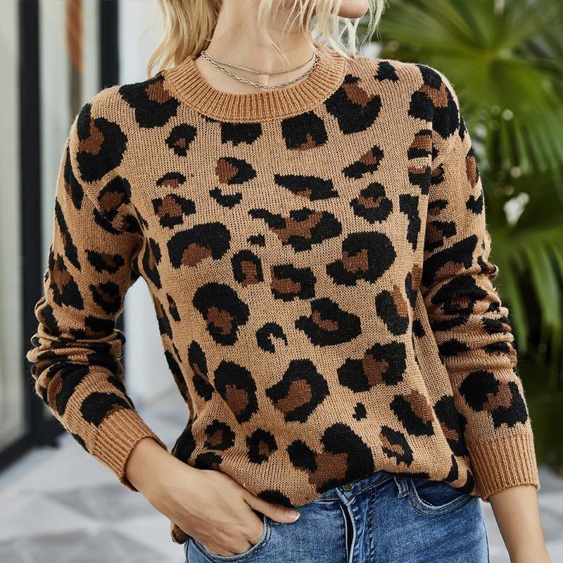 Frauen-Mohair Leopard Pullover Herbst-Winter-Damen-lange Hülse O-Ansatz Art und Weise gestrickte Shirts