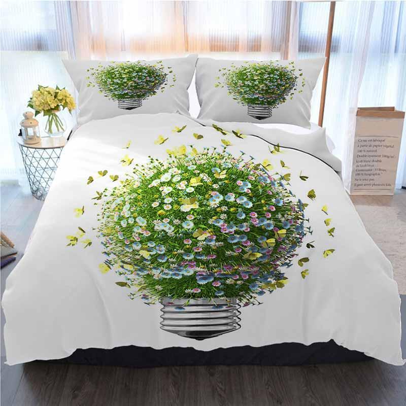 Verde cama 3 peças Sets capa de edredão, Tecnologia Verde, Casa Luxo macia edredon Consolador Tampa