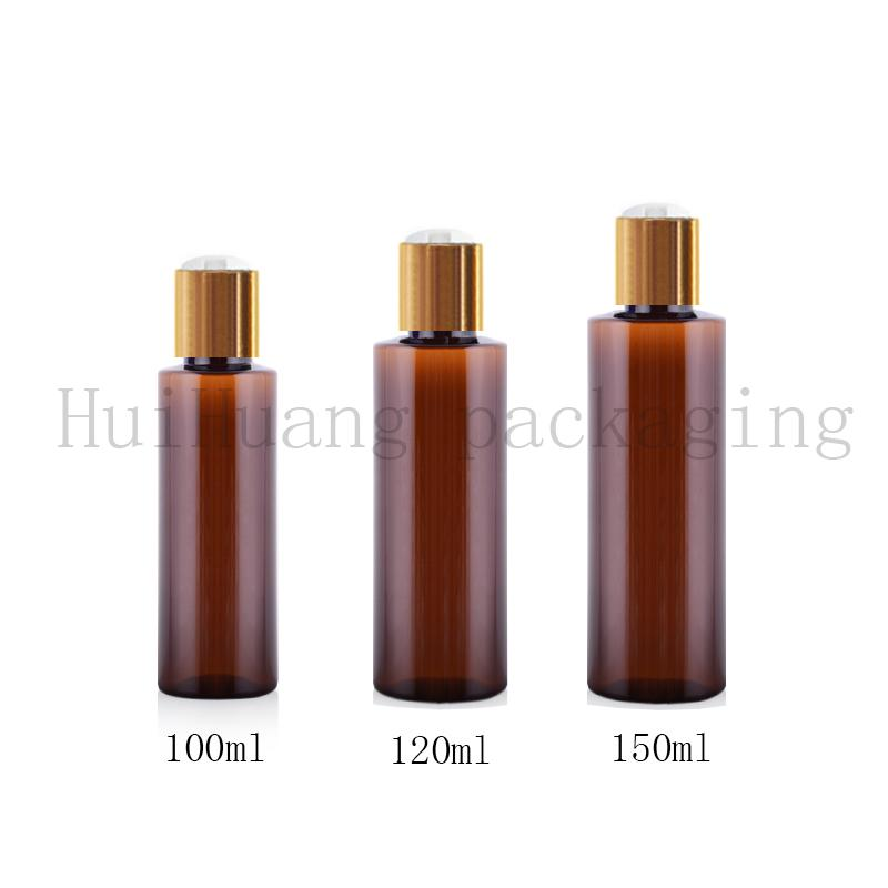 50pcs 100 ml 120 ml 150 ml 200 ml marrón botella de plástico vacía con tapa superior disco de aluminio oro, botellas de aceite, champú