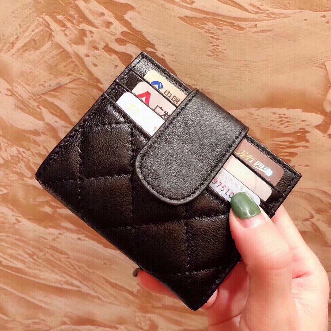 2020 nueva joyería de lujo de la tarjeta de diseño para los titulares de tarjetas de la mujer los hombres de seguridad y negro de piel de oveja mini bolsillo de la carpeta monedero bolsillo interior bolsillo p