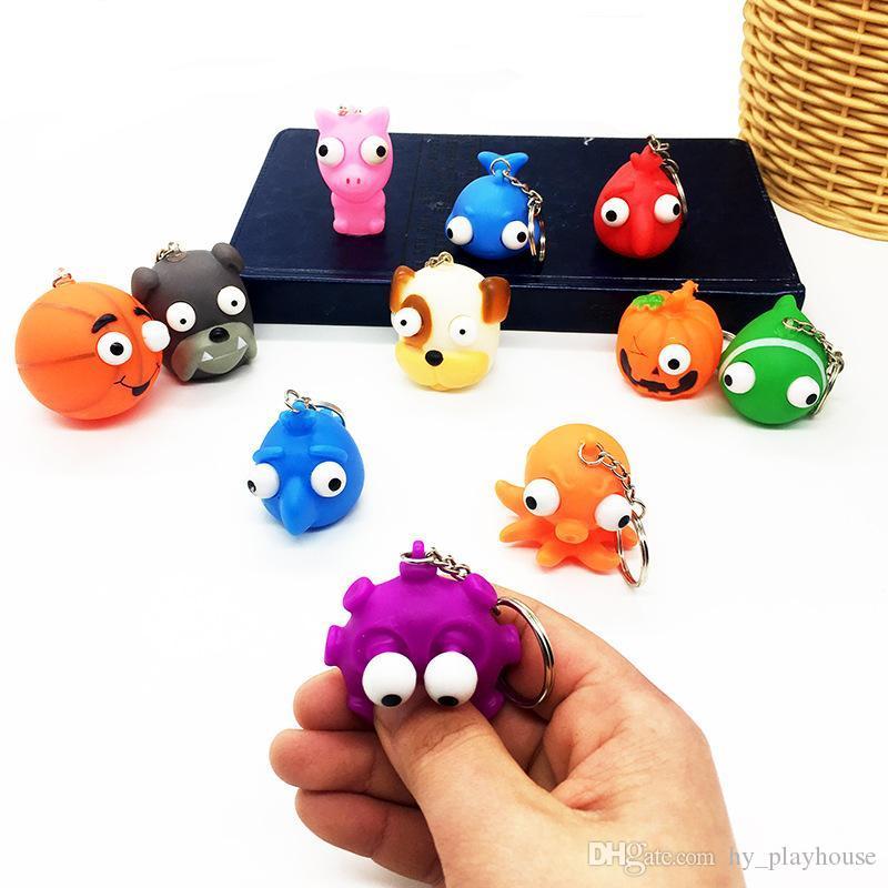 XMY Cute Burst Eye Doll Key Chain mini 5cm Decompression Toys Funny Animal Shape Squeeze Keychain Toy Hot Sale