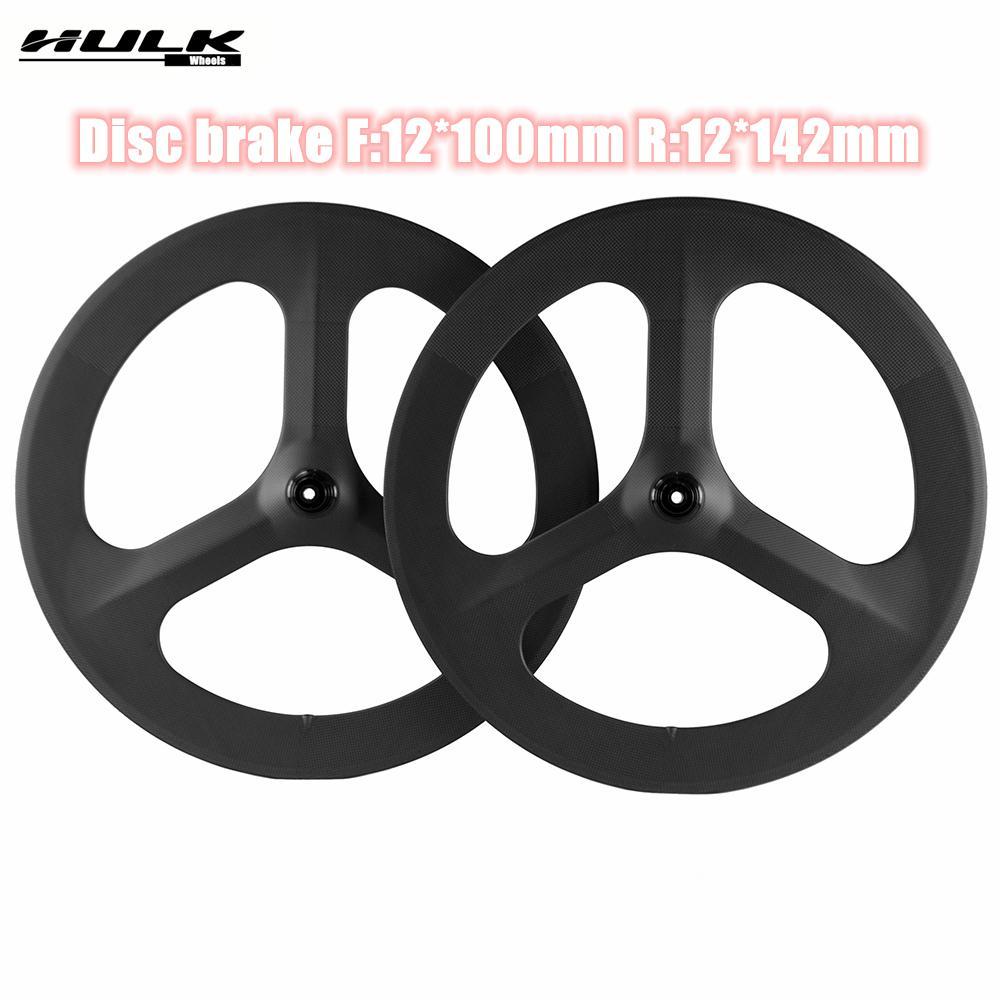 Hulkwheels 700c carbono tri falava rodas clincheiro frenagem de disco bike roda três falou roda de carbono 3 raios de cascalho borda de bicicleta