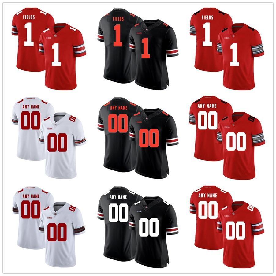 Youth&Mens #1 Justin Fields Julian Fleming Any Name Any Number OSU Ohio State Buckeyes Home Red Black White Custom College Football Jerseys