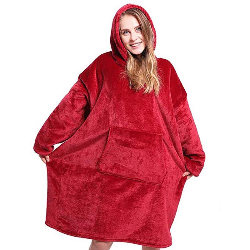Oversized coperta con cappuccio Felpe con cappuccio gigante con maniche morbida coperta del panno caldo inverno con cappuccio Pullover LJ201014