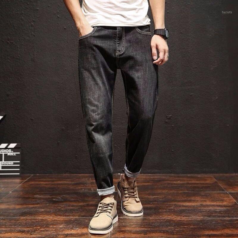 2020 Мужские 9-очковые джинсы мужские свободные крупные корейские тренда случайный черный эластичный Harun маленькая нога штанты1