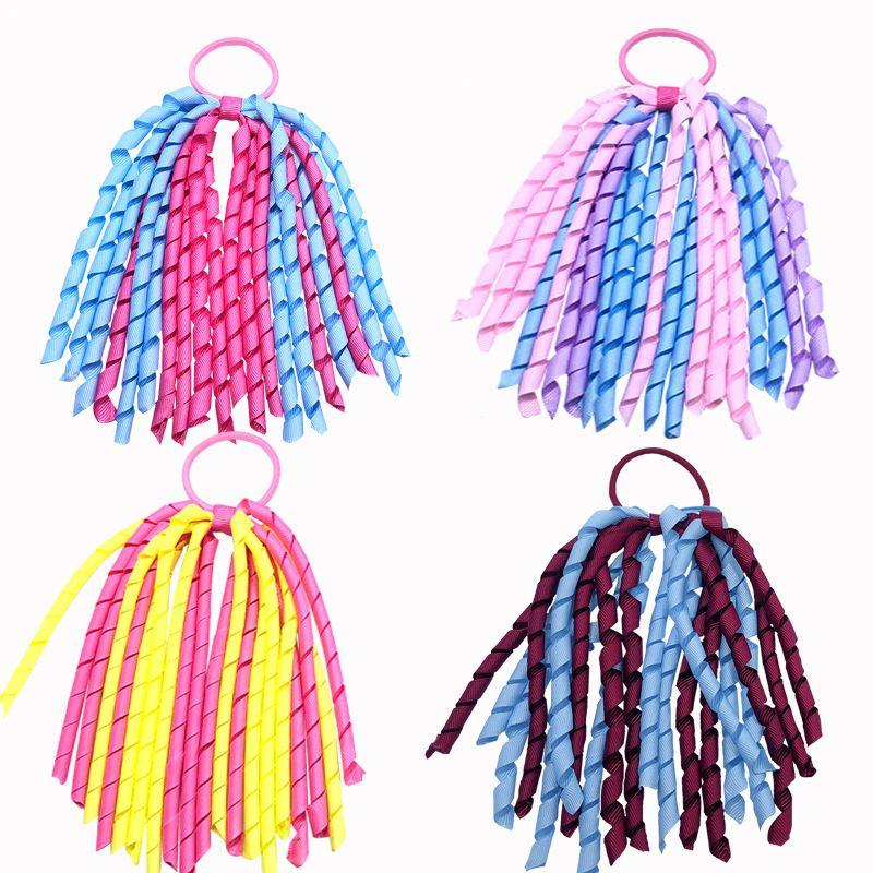 """소녀 5 """"o a-korker ponytail holders kollers 곱슬 리본 깃발 Corker 머리 bobbles 꽃 탄성 학교 부스터 모자 239 K2"""