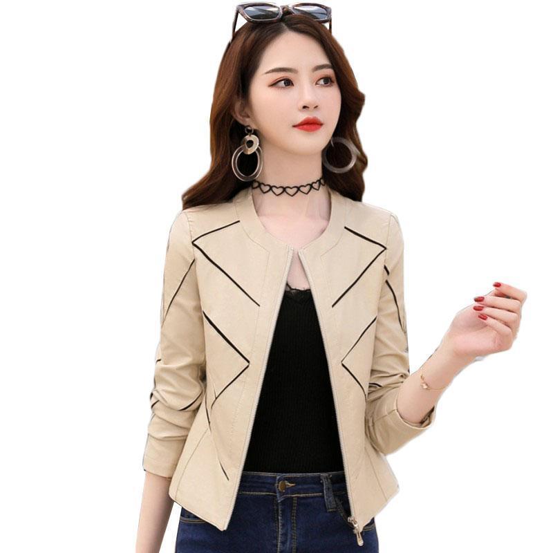 Kadınlar Deri Ceket İlkbahar Sonbahar Moda O-boyun İnce Motosiklet Coat Lady Kısa Yumuşak Pu Deri Biker Ceket Plus Size 4XL 44