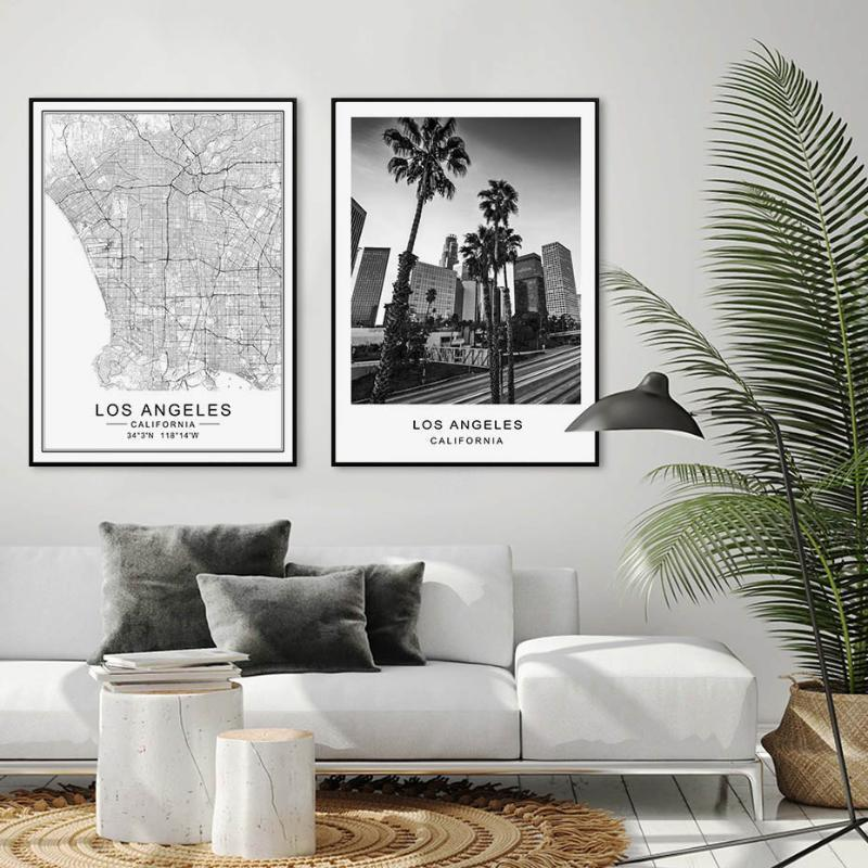 Los Angeles City Map Modern Building Landscape Canvas Painting Poster Print Black White Wall Art Pictures Living Room Home Decor