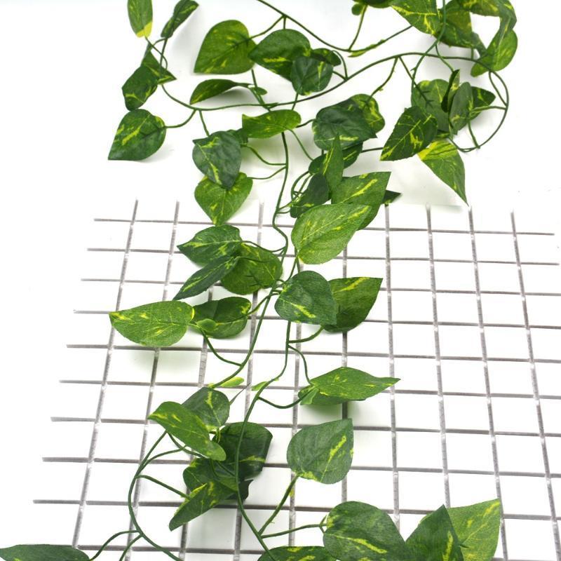 2M videira artificial flor videira casamento coroa arco decoração falsificação de plantas folhas verdes trepadeira rattan parede da flor artificial hera