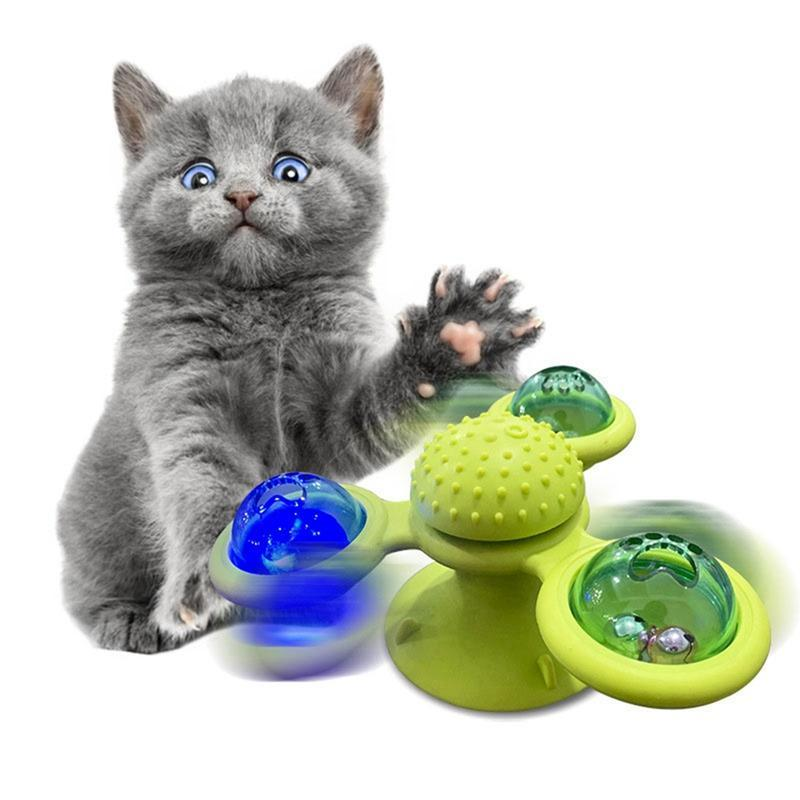 Windmill Toys For Cats Puzzle Whirling Cat Play Game Toys Cat Turntable Teasing Interactive With Massage Scratching Tickles