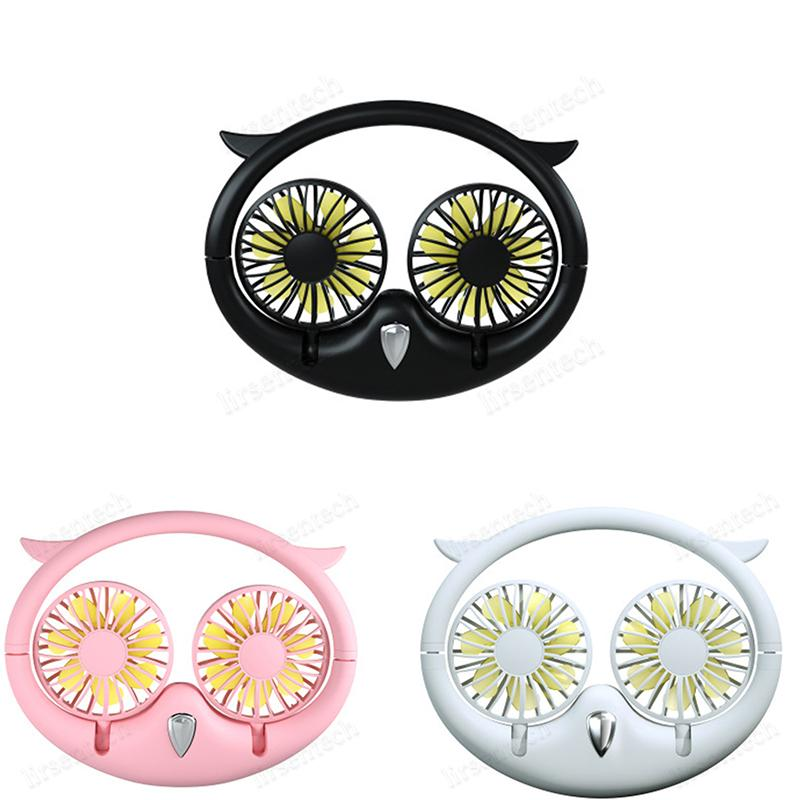 Nuevo Cuello portátil Mini Owl Cuello Cuello Cuello Recargable Batería Ventilador Desktop USB Plegable Telescópico Ventilador Lazy Colgante Cara Fan