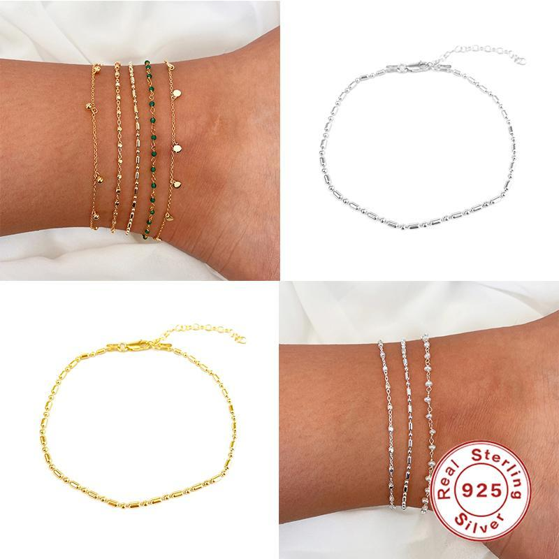 ROMAD Luxury 925 Sterling Silver Anklets For Women Crochet Sandals Vintage Sandals Pendant Anklet Bracelet Foot Chain Jewelry