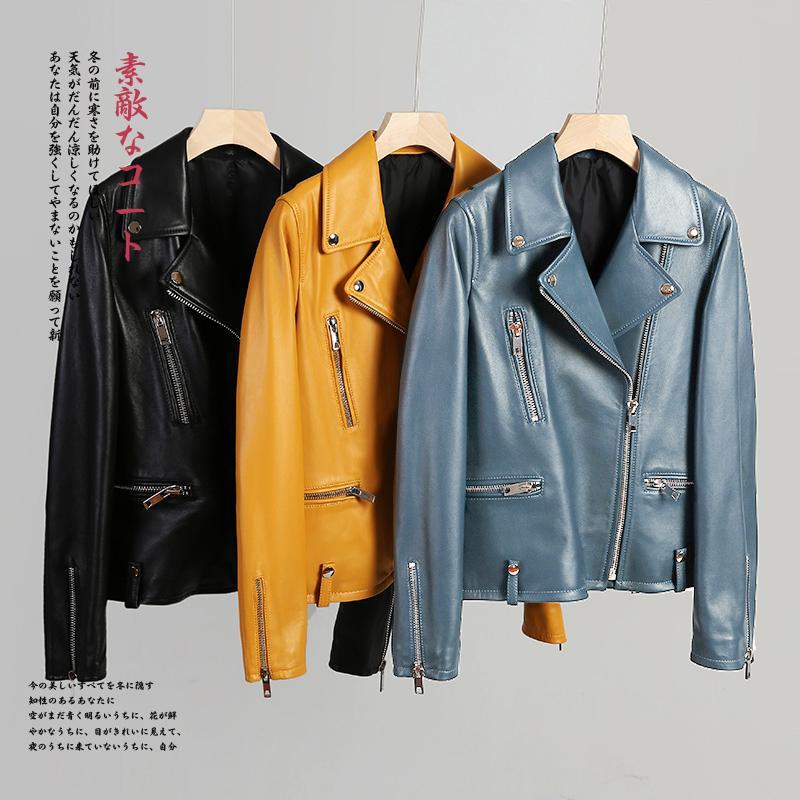 preto amarelo azul de couro biker jacket mulheres outono tamanho zipper Além disso, jaquetas de couro Nerazzurri curtos de manga longa faux para as mulheres 201016
