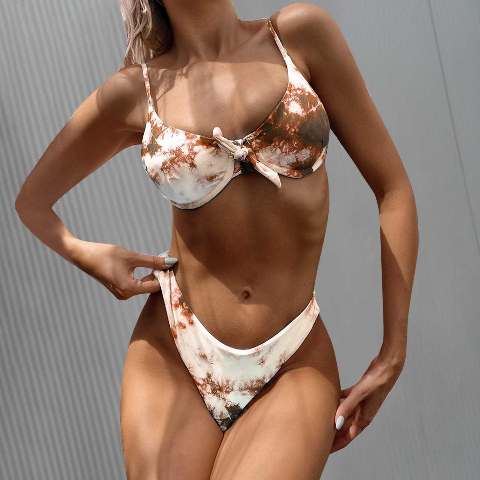 40 Vintage Mid-Taille Tankini Femme Split Baignade Suit Sexy Teinture Tye Convergence Bikini Bowknot Maillot de bain