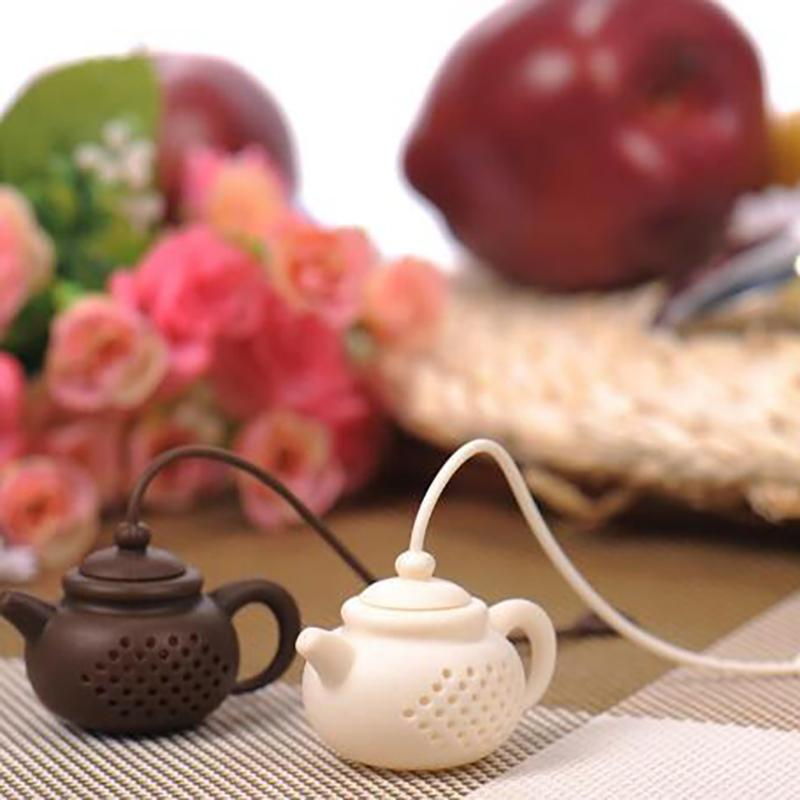 Silicone Teapot Shape Tea Filter Safely Cleaning Infuser Reusable Tea/Coffee Strainer Tea Leaks Kitchen Accessories SEA SHIPPING CCE4215