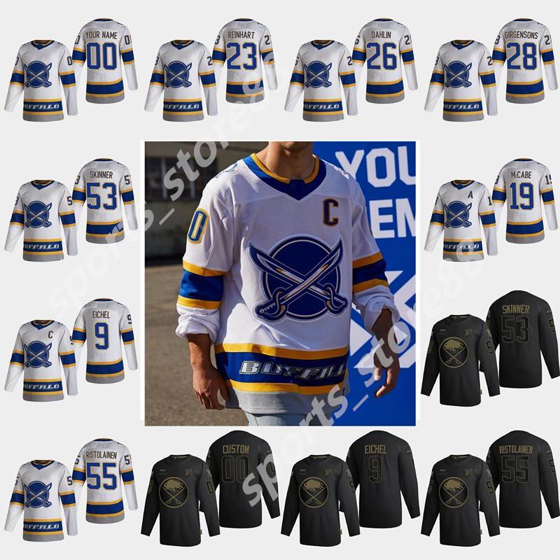Buffalo Sabres 2021 Reverse Retro Hockey Jerseys Jack Eichel Jersey Rasmus Dahlin Jeff Skinner Wayne Simmonds Sam Reinhart Custom Stitched