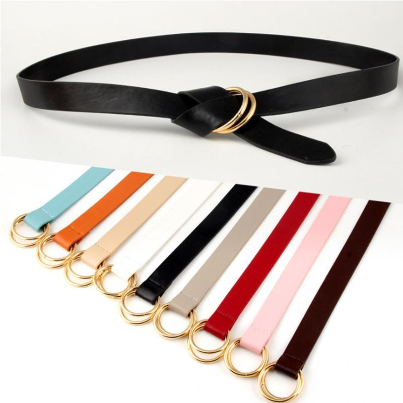 Classic double ring buckle women's belt Morandi fashion women's PU leather decorative belt wild skirt