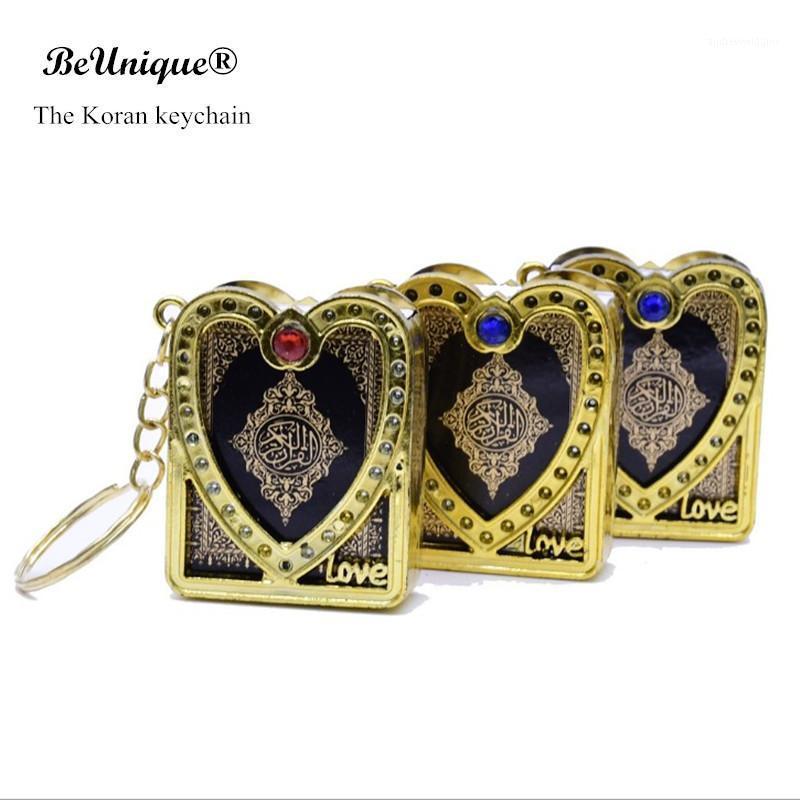New Golden Heart-Shape a forma di Mini Arabo Versione Quran Book Portachiavi Pendente The Koran Scrittura Portachiavi Musulmani Regali musulmani ISLAM Religioso1