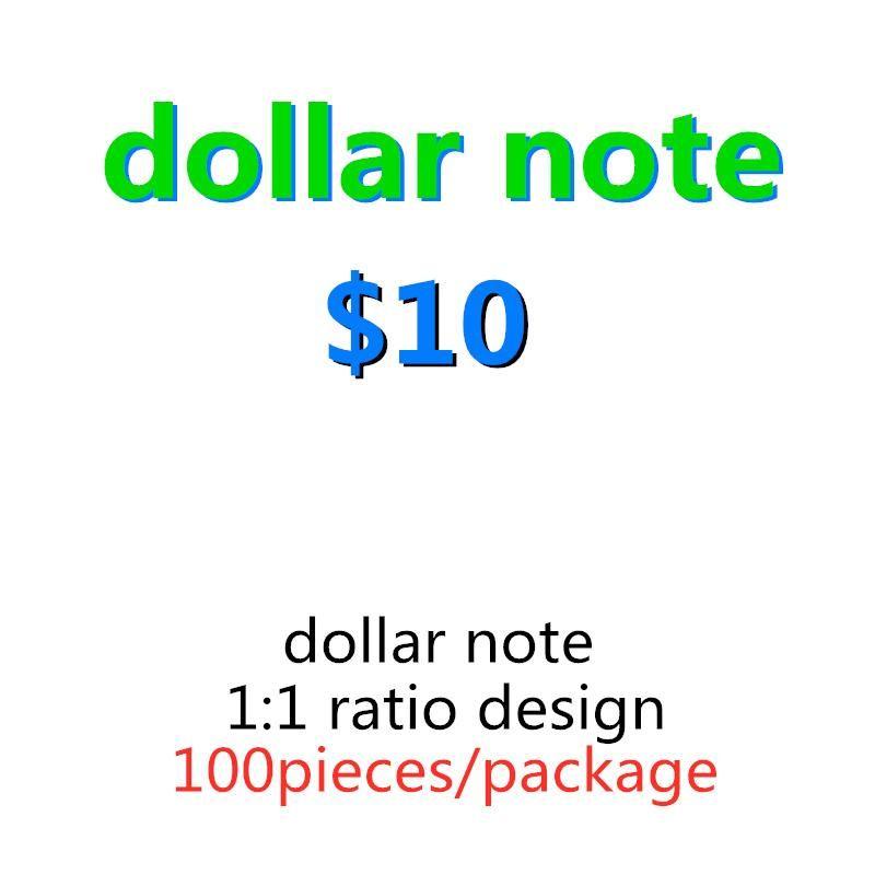 US Money Toy Play 10 Kids Movie Realistic Mas Family Dollar Prop Paper Money Faux Copia Billet Billet 100pcs / Pack 10 imtvf