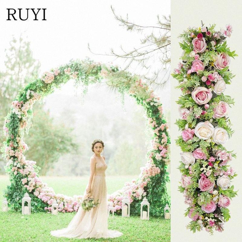 100 cm Rayon Rose Flower Riga FAI DA TE Matrimonio Guida stradale Arco Decorazione Artificiale Fiore Fotografia Fotografia da studio Puntelli Decorativi Fiori Kpwn #