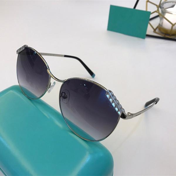 3073 Sunglasses Women Fashion Oval Sunglasses Anti-UV Lens Coated Mirror Lens Full Frame with Diamond Color Electroplating Mirror with Box