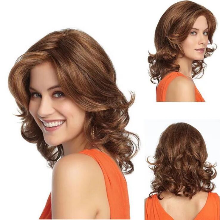 Livraison gratuite Fabricants Grossistes Nouvelle Mode Femme Européenne Et American Femmes Courtes Courbées Cheveux High Température Chimique de soie
