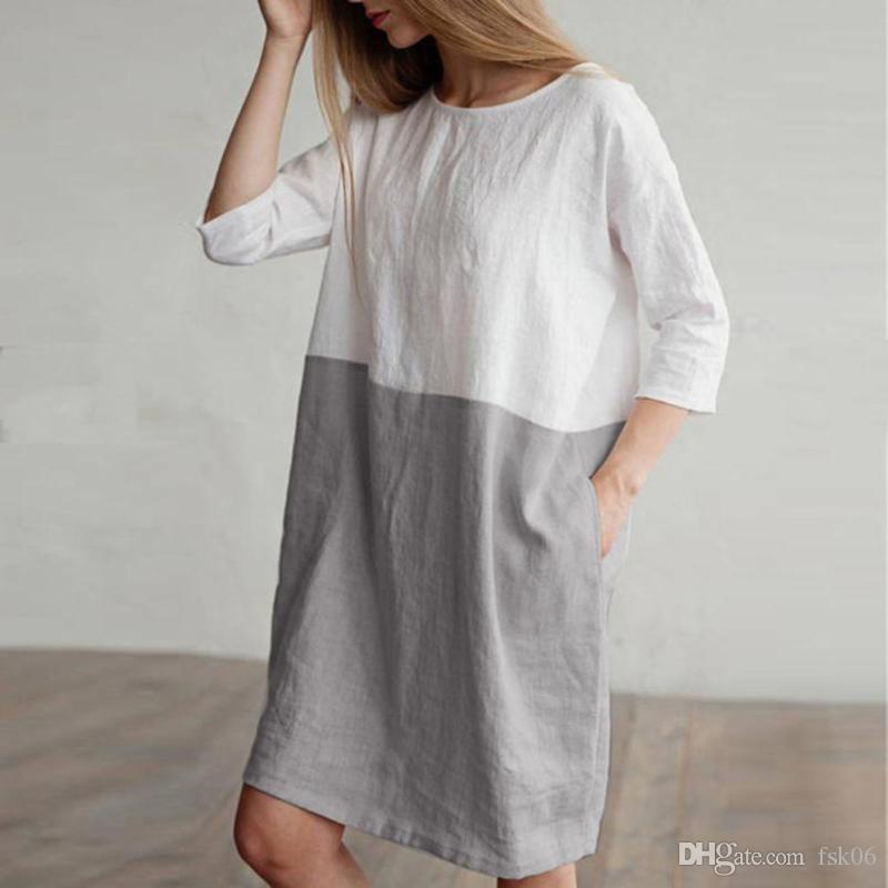 dress Women Casual Patchwork 1/2 Sleeved Cotton Linen Dress Oversize Loose Pockets Tunic women 2020
