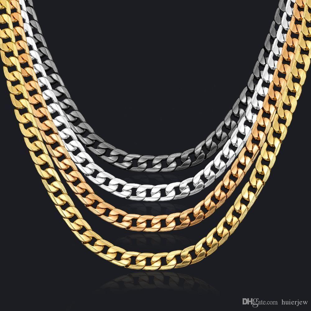 Collar de cadena de enlace cubano Cadena de acera para hombres Joyería Corrente de Prata Masculina Venta al por mayor Miami Mens Necklace